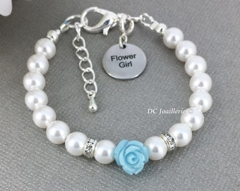 Light Blue Flower Bracelet Pearl and Flower Bracelet Swarovski Bracelet Flower Girl Gift Flower Girl Bracelet Pale Blue Flower