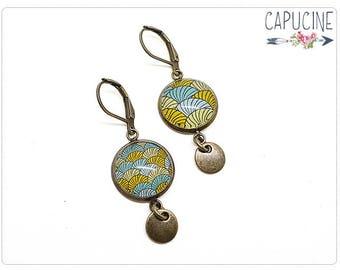 Circles earrings - Chandelier earrings - Glass dome circles earrings