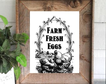 Farm Fresh Eggs Farmhouse Sign Decor Art Printable Digital Instant Download