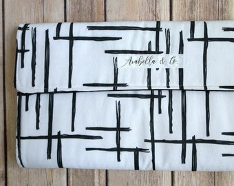 Diaper Clutch- Abstract, Diaper Clutch with Changing Pad, Diaper Holder, Diaper Clutch Pockets, Palm Leaves