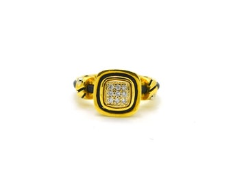 John Atencio 18k Yellow Gold Diamond Cluster Rubber Ring - .10 ct. tw - Size 6