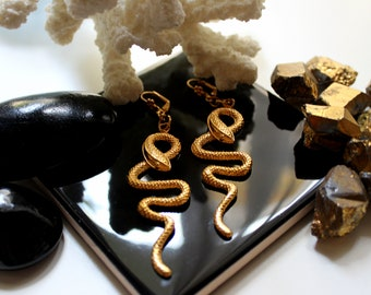 gold plated esoteric symbolic occult snake earrings