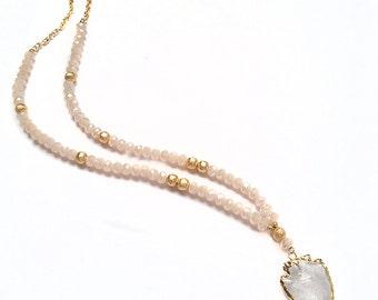 Faceted Blush Glass Crystal Arrowhead Necklace - Druzy Jewelry - Agate Jewelry - Agate Slice - Arrowhead - Clear Arrow - Crystal - Beaded