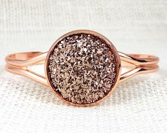 Rose Gold Druzy Bracelet - Rose Gold - Bracelet - Cuff Bracelet - Bridesmaid Gift - Jewelry - Rose Gold Jewelry - Druzy Bracelet - Druzy