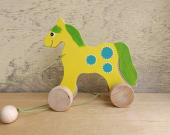 Wood pull toy Horse in Lemon, hand cut hand-painted toy on wheels, personalized cheerful wood toy for toddlers, pull along wooden toy horse