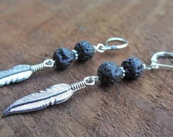 Lava Stone Earrings, Healing Lava Earrings, Lava Bead Earrings, Boho Earrings, Healing Crystal Earrings, Basalt Earrings