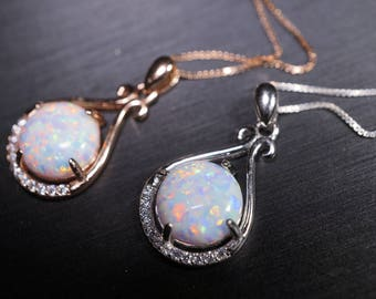 Rose Gold Opal Necklace, Sterling Silver Box Chain Round 10mm Synthetic White Opal Necklace -  Large High Quality Flash Opal Jewelry