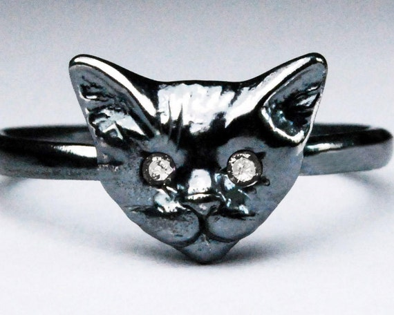 Black Sterling Silver Kitty Cat Ring with CZ Eyes