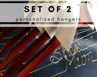 Set of 2 personalized hangers - perfect for bridal party
