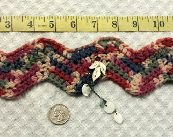 Autumn colored crocheted choker