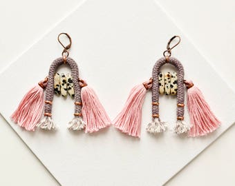Pink Tassle Earring, Dalmatian Jasper Earrings, Tribal Earrings, Tassel Earrings, Old Rose Earrings, Fabric Earrings, Statement Earrings