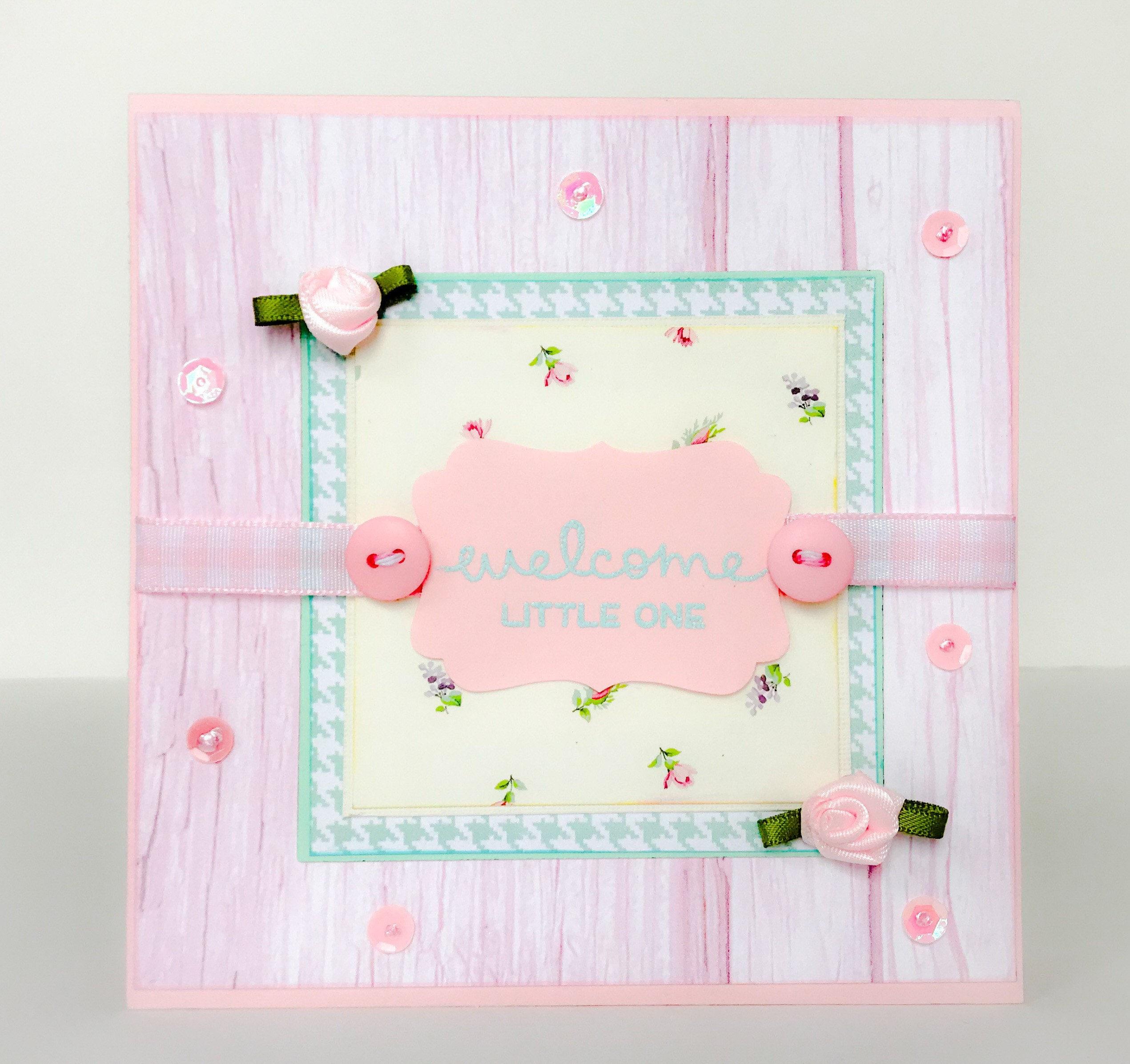 Handmade Baby Card Baby Girl Adoption Card New Baby Card