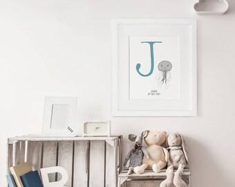 Custom Baby Monogram, Jellyfish Print, Animal Alphabet, Letter J, Alphabet Poster, Christening Gift, Customised Nursery Decor, New Baby Gift