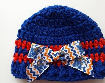 Baby hat University of Memphis, Hand Crochet, sizes Newborn or 3-6 months