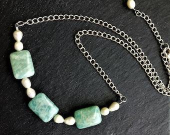 Collier Amazonite, colliers de pierres précieuses Amazonite, colliers verts, collier de 18 pouces