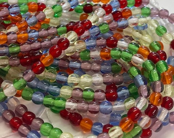 4mm Druk Bead Mix, 4mm Round Glass Bead Mix, Mixed Glass Strand, Czech Druk Bead Mix, Mixed Colors