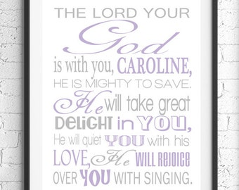 Zephaniah 3:17 Wall Art, Scripture Art, The Lord Your God Bible Verse Wall Art, Baby Girl Nursery, Personalized Gift, Religious Art, Gray