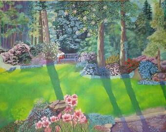 Landscape Painting of Smithsonian Botanical Azalea Gardens.