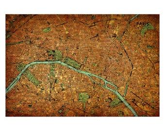 PARIS Vintage Map 15E - Handmade Leather Journal / Sketchbook - Travel Art