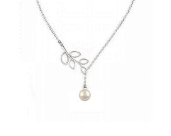 Swarovski Pearl Lariat  Necklace , Sterling Silver Chain ,  Silver Branch Lariat