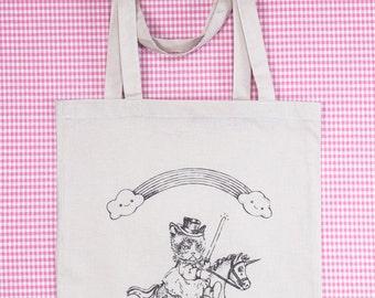 "TOTE BAG mignon ""Raider of the last unicorn""/ illustration marrante/ grumpy cat/ kawaii/ licorne/ star wars/ donuts/ old school"