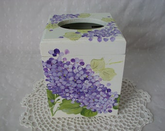 Tissue Box Cover Holder Hand Painted Purple Hydrangeas Wood Home Decor