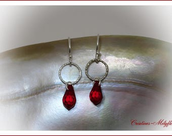Silver and Red Swarovski crystal earrings