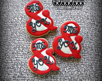 "Ampersand shaped ""Me & You"" decorated cookies,  One Dozen (12 cookies)"
