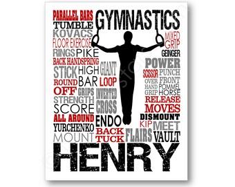 Men's Gymnastics Rings Typography Poster, Gymnastics Art Print, Gymnast Canvas, Boys Gymnastics Art, Gymnastics Team Gift, Still Rings Art