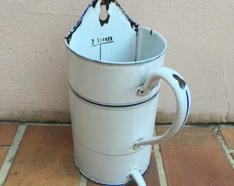 Vintage french enameled Enamelware IRRIGATOR DOUCHE garden white