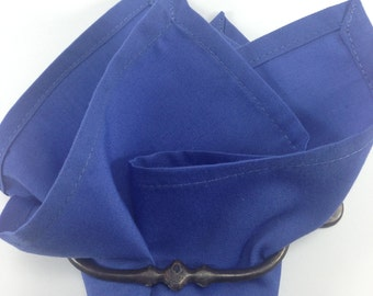 cotton pocket square steel blue