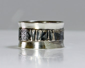 """Size 9 Ring Handcrafted  Sterling Silver Wide Band Ring """"Silver Folds""""  Contemporary One of A Kind Artisan Jewelry Design 4983409282714"""