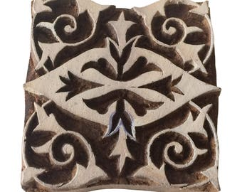 Square Indian Hand Carved Stamp Block Print Stamp Textile Stamp Clay Stamp Pottery Stamp
