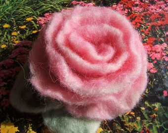 Soft Felted Rose in Pink Brooch/Pin