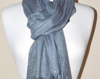 Gray Soft Rayon Shimmery Sequence Scarf
