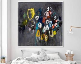 Extra large wall art, colorful modern art prints up to 40x40, geometric art, mid century modern, black Yellow Sparkles