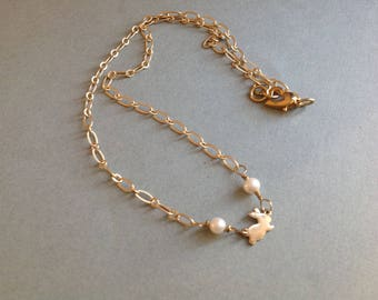 Bunny Necklace,  Fresh Water Pearls,  Wire Wrapped and Made to Last