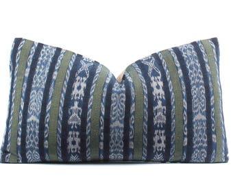 Guatemalan Pillow Cover, Boho Pillow, Striped, Indigo, Green, White, Ethnic, Handwoven, 11x19, SKU071323