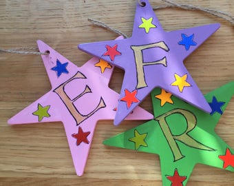 Hand painted hanging star