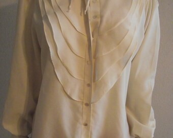 Vintage Blouse Cream by it's Gailord ruffle top  Medium