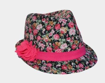 Black Floral Fedora for Girls