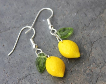 Lemon Grove earrings - yellow fruit glass beads and green leaves, hypoallergenic - Free Shipping USA