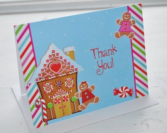 Gingerbread Birthday Party Thank You Cards - Holiday, Winter Birthday Party Decorations - Christmas Party Thank You Cards - Set of 10