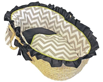 Chevron Grey/Navy/Lime Baby Moses Basket  -Ruffled Trim