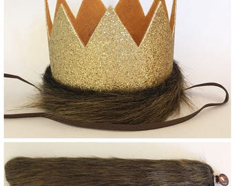 Where the Wild Things Are Glitter Gold and Mustard Medium Crown Headband and Tail, King of the Jungle Crown Hat and Tail, Lion Crown and Tai