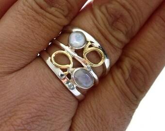 Moonstone Gold/Silver 2 Stone Ring, Moonstone Rings, June Birthstone, Moonstone Wide Band, Gemstone Ring, Mistry Gems, R28M