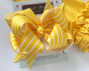 Yellow HairBow made to match Matilda Jane Wish You Were Here -- double stacked 5-6 inch bow -- AMAZING quality handmade in Tennessee