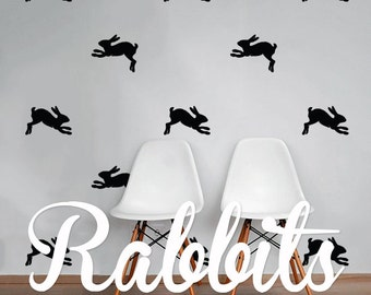 Rabbits Wall Decal Pack, Animals Vinyl Wall Sticker Decal Art Pattern WAL-2210