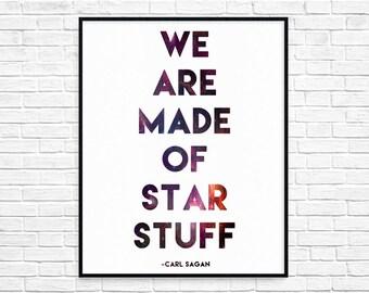 Carl Sagan we are made of star stuff galaxy giclee fine art print birthday gift wedding decor watercolor science Nursery childrens room