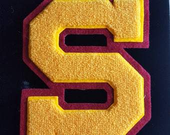 Varsity Patch- Letterman Jacket S Patch- Vintage Patch- Vintage Applique- Garnet Maroon Red Gold Yellow- 7.75 Inches